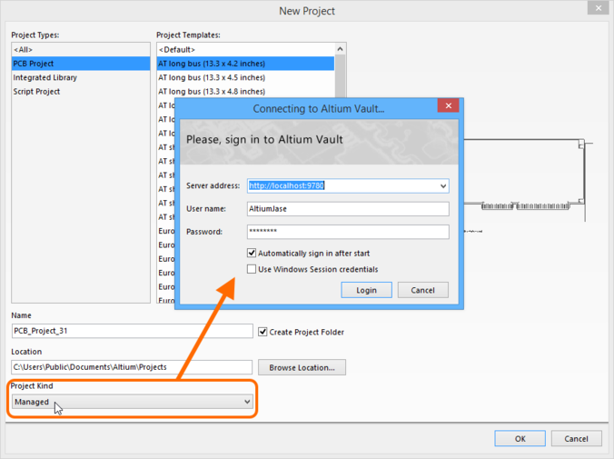 You will need to sign-in to your Altium Vault before you can create a new Managed project.