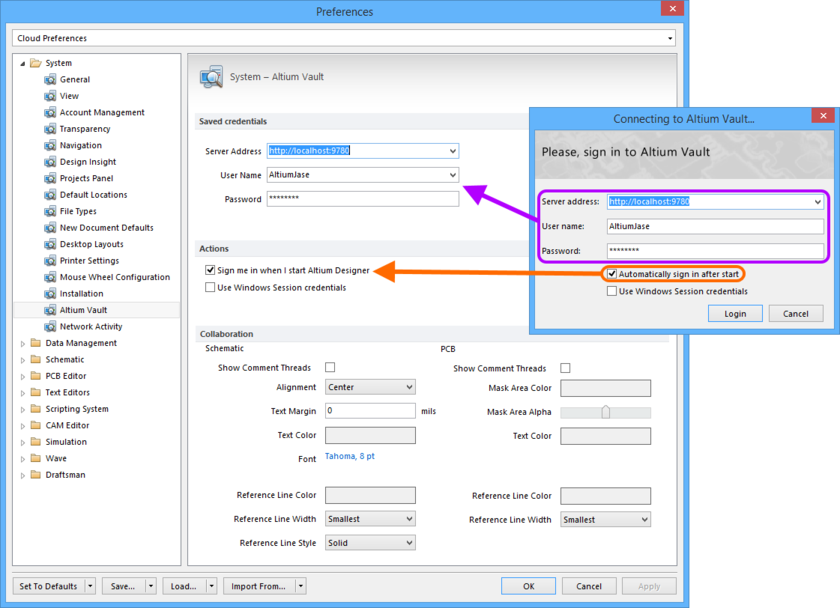 Configure automatic sign-in, when Altium Designer starts, as part of your preferences.