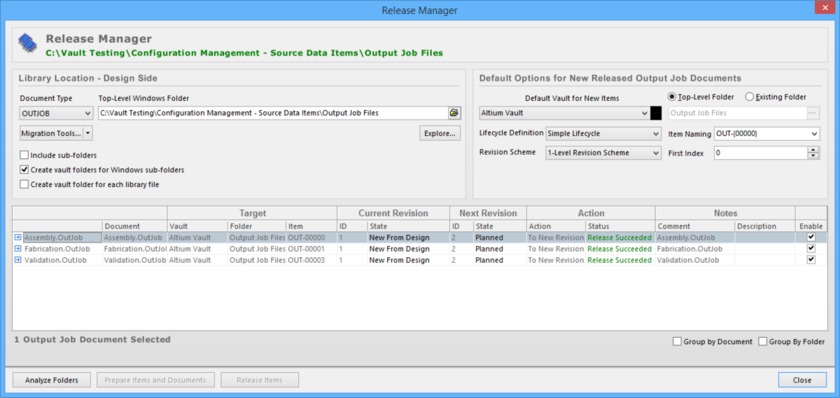 Release Output Job Configurations, stored in one or more source documents, using the Release Manager.