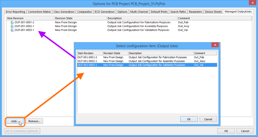 Choose from the environment configuration's defined Outputjob Item Revisions, when adding OutJobs to a project.