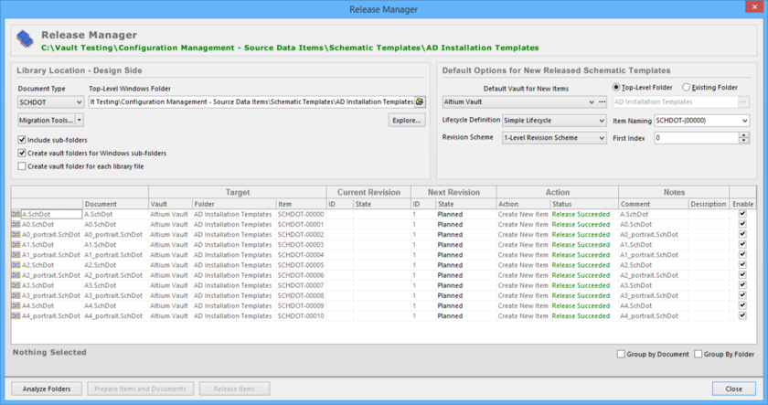 Release schematic templates, stored in one or more source documents, using the Release Manager.