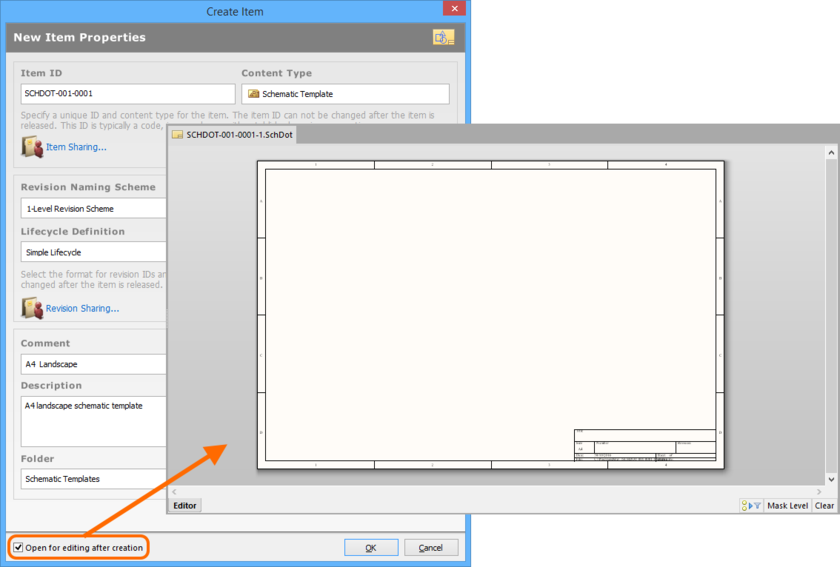 Example of editing the initial revision of a Schematic Template Item, directly from the vault - the temporary Schematic Editor provides the document with which to  define your schematic template.