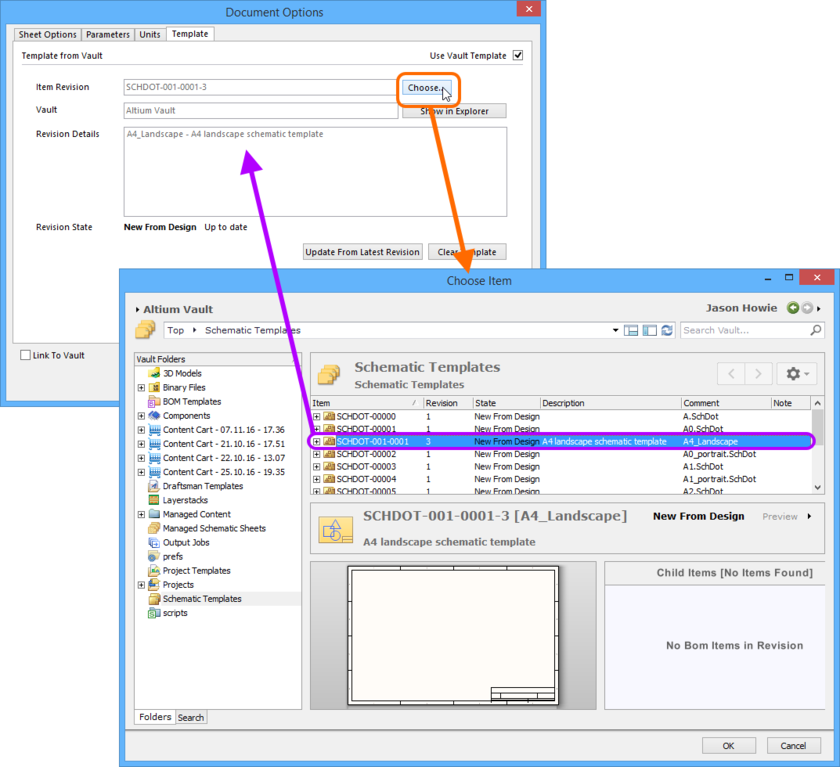 Manually choosing a revision of a vault-based Schematic Template Item from within the Document Options dialog.