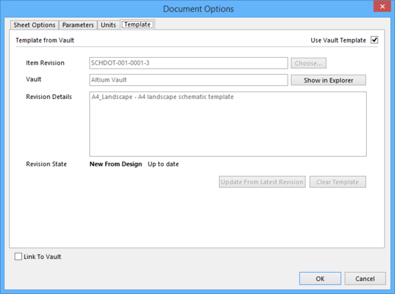 The chosen revision of a Schematic Template Item is reflected on the Template tab of the Document Options dialog.