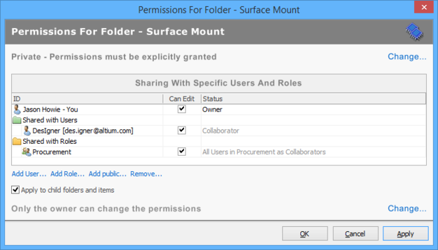 The appearance of the permissions list after the additions are finalized (saved), for the Vaults panel interface.