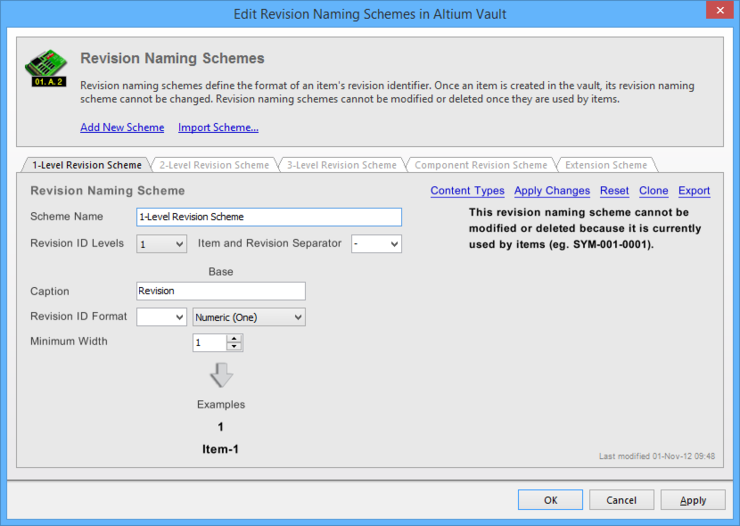 Revision Naming Schemes for the selected vault are created and edited in the Edit Revision Naming Schemes dialog.