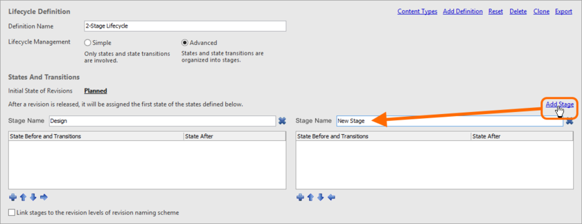 Add stages as required, which will be used to cluster states and create a more enriched, structured lifecycle definition.