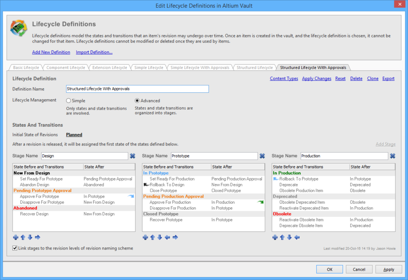 Lifecycle Definitions for the selected vault are created and edited in the Edit Lifecycle Definitions dialog.