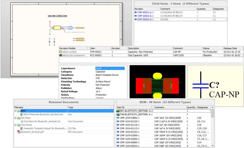 Data presented in the Item view for the revisions of three different Item types - Managed Schematic Sheet Item (top), Component Item (middle), and PCB Assembly Data Item (bottom).