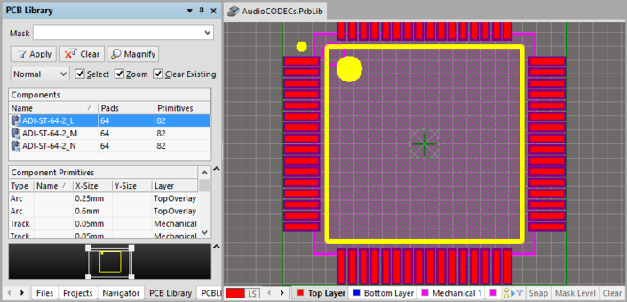 Resulting PCB Library document with the downloaded footprints.