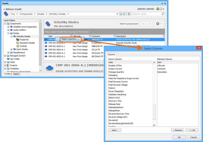 The Select Parameter Columns dialog is control central for defining which parametric data is presented in the Components View. Hover over the image to see an example of  additional parameters selected, presenting as additional columns in the view.