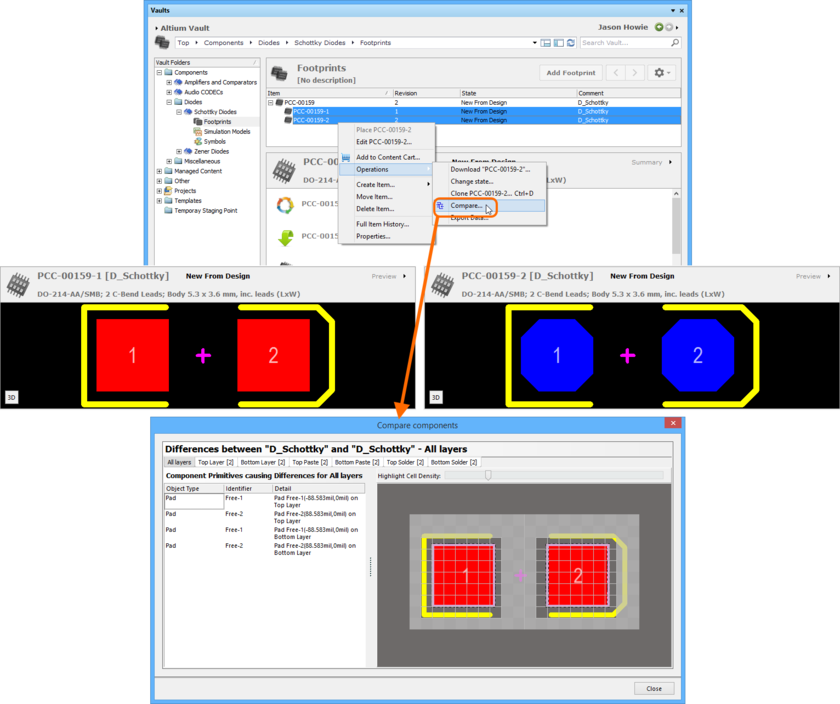 Example comparison of two revisions of a Footprint Item. The source libraries are not opened in the workspace - previews of the footprints are included here (taken from the  Vaults panel) to show the differences that actually exist.