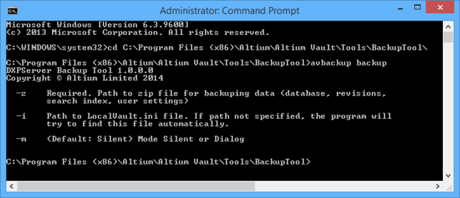 Switches available when using the tool in backup mode.