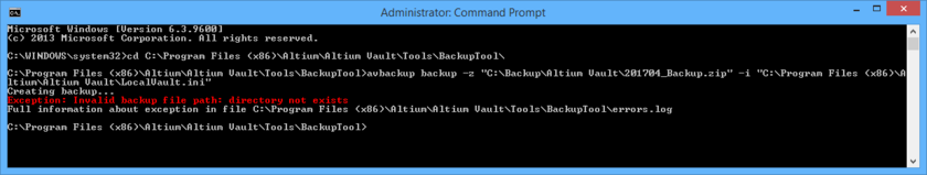 When backing up or restoring your Vault, details of any errors, as well as full path to the errors.log file, are presented directly in the CMD window.
