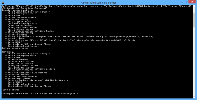 The result of running the example restore command. Notice that the tool creates a restore point first (a backup of the current Altium Vault installation), before  performing the restore.