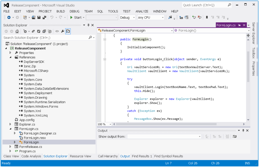 A Vault Server SDK example project open in the Visual Studio IDE.