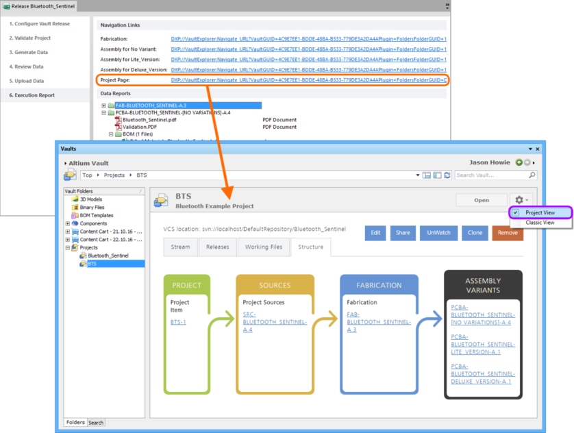 For a managed project, you can explore the project in the Vaults panel in more detail, courtesy of the Project View.