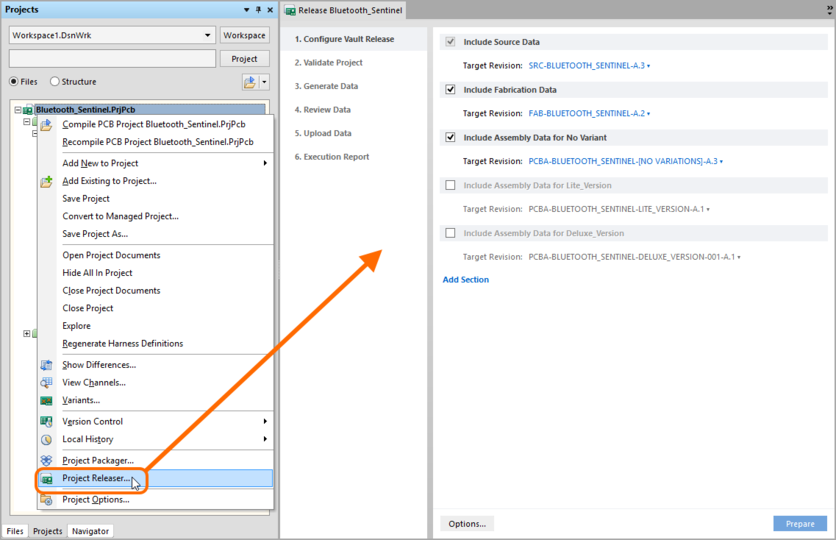 Accessing the Release view - the user interface to the Project Releaser.