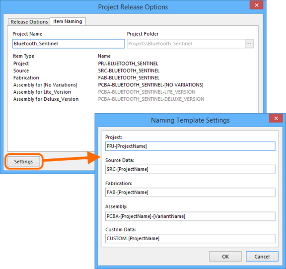 Set the target folder and define the naming for generated data items in the target Altium Vault.