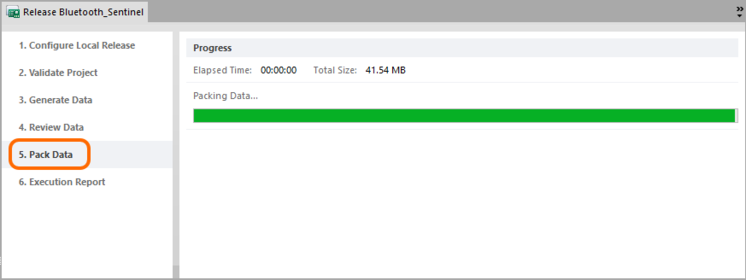 This stage simply reflects progress of the packing of generated data into the target zip file.