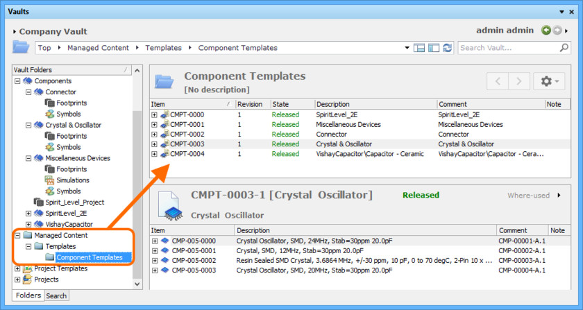 Viewing the Component Templates, created as part of the migration process, and used in the creation of the components themselves.