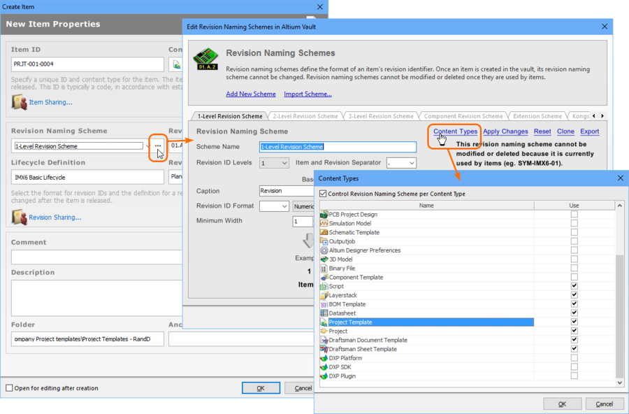 The Project Template Item Naming Scheme and Lifecycle Definition field should offer sensible default choices. These can be modified in the Content Types dialog.