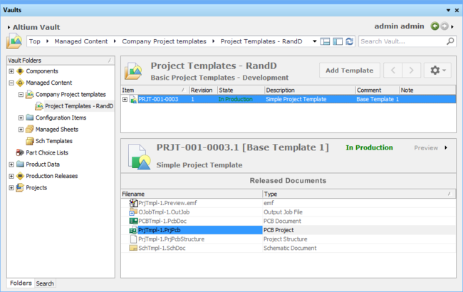 Altium Designer's Vaults panel can be used to manage and modify released Project Templates.