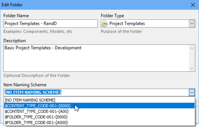 The Naming Scheme defines how Items within the Folder are automatically named.