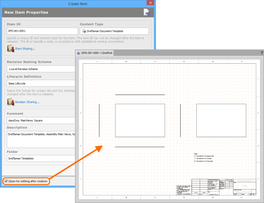 Example of editing the initial revision of a Draftsman Document Template Item, directly from the vault - the temporary PcbDrawing Editor provides the document with which to  define your document template.
