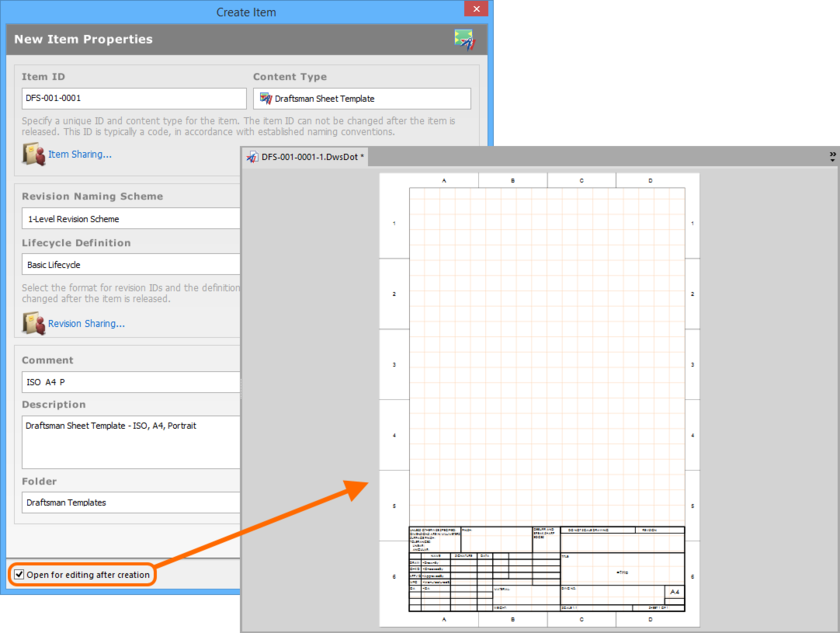 Example of editing the initial revision of a Draftsman Sheet Template Item, directly from the vault - the temporary PcbDrawing Editor provides the document with which to  define your sheet template.