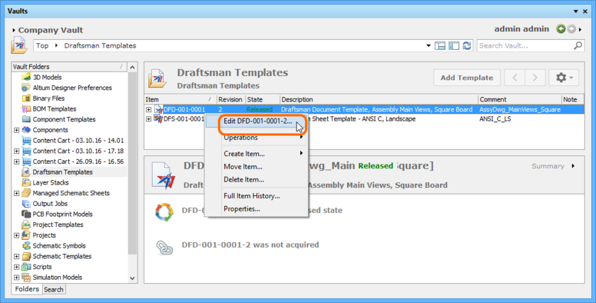 Accessing the command to launch direct editing of an existing revision of a Draftsman Document Template Item.