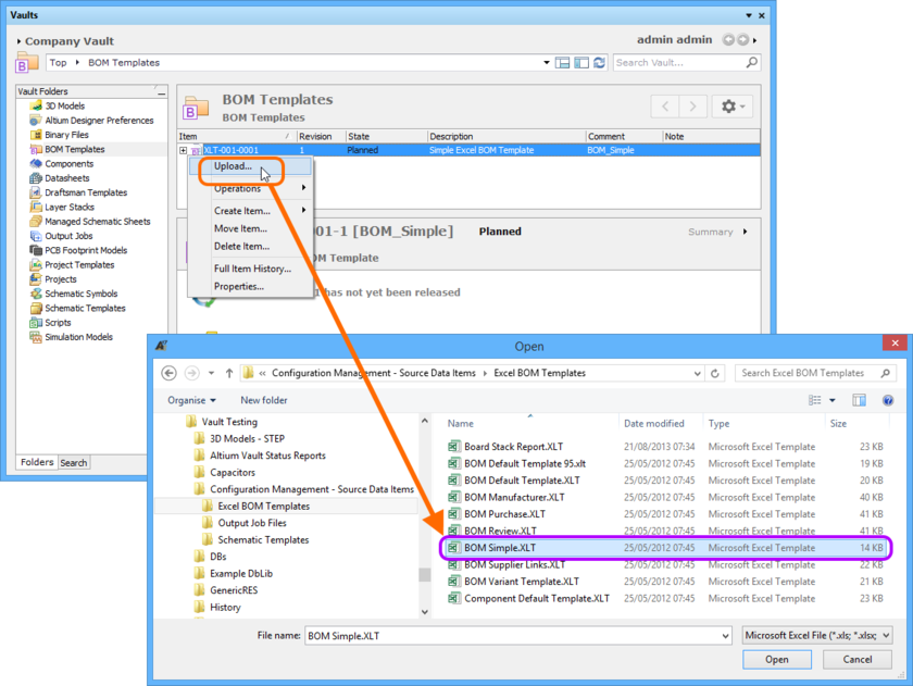 Manually specifying the Excel template file to be uploaded to the target BOM Template Item.