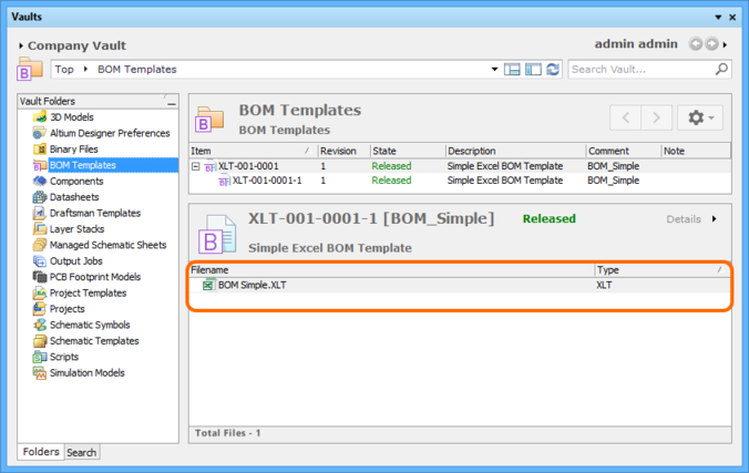 The uploaded file is listed in the Details aspect view for the targeted revision of the BOM Template Item.
