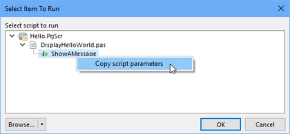 Select the required process/procedure in the script project before copying the Vault command Parameters.