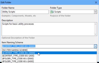 Use a preset Item Naming Scheme or create a custom scheme.