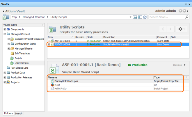 In the Vaults panel, select the Details view to see the files contained in the current Script Revision.