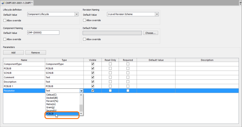 Turn a newly added parameter into a footprint model definition by setting its Type to PCBLIB.