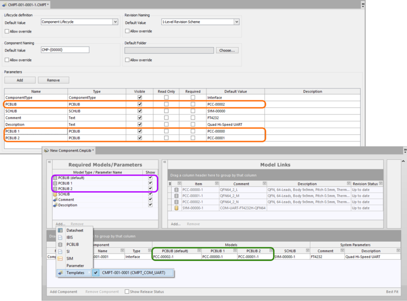 An example component defined in the Component Library Editor, using a referenced Component Template. The template has three footprint models defined, which are broguht  into the CmpLib. Notice that the PCBLIB model entry in the template is used as the default footprint model (PCBLIB (default)) in the component library.