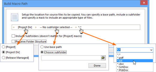 Files are added using an assembled macro string.