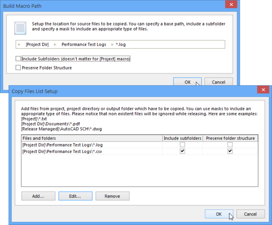 The multiple file gathering entries added to the Copy Files list can also include files contained in subfolders.
