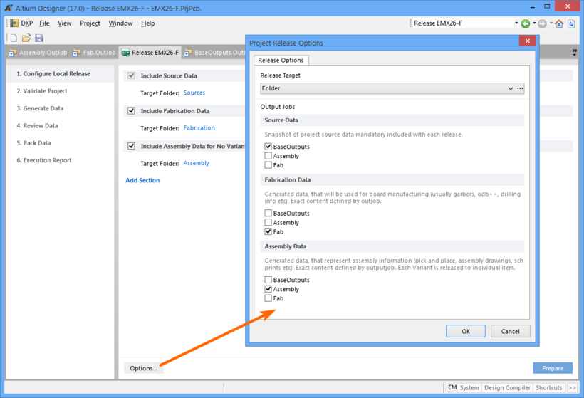 Set the Project Releaser options to use appropriate OutJob files for each output data type.
