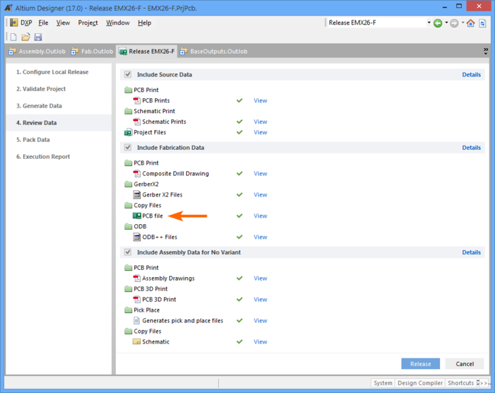 The Project Release preparation stage will list the files to be included in the release, including any PostProcess copied files.