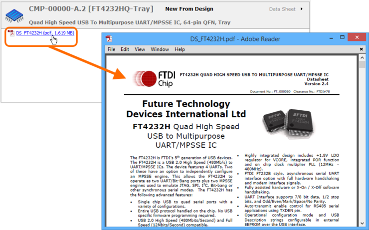 Use the hyperlinked name of the datasheet to quickly access it. In this example, a PDF datasheet is opened in the applicable, external PDF Viewer application.