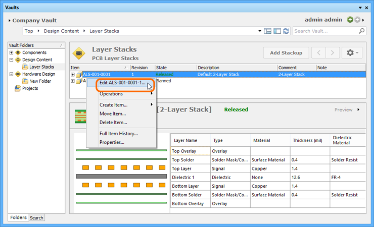Accessing the command to launch direct editing of an existing revision of a Layerstack Item.