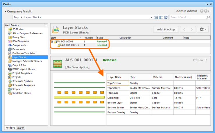 Preview of the layer stack definition, available in the released revision of the target Layerstack Item.