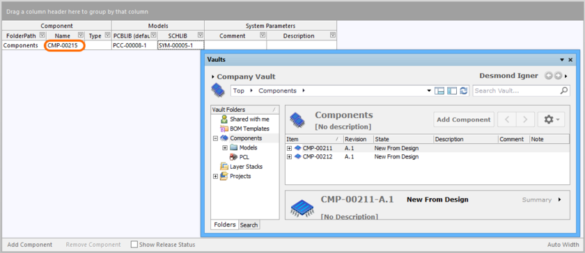 User Desmond Igner, creating a new vault component, with automatically assigned ID CMP-00215.