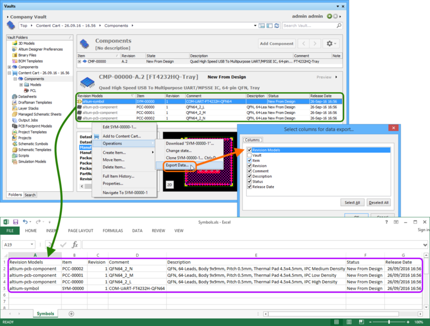 An example of exporting data regarding to the linked models for a selected Component Item, to an Excel-formatted file.