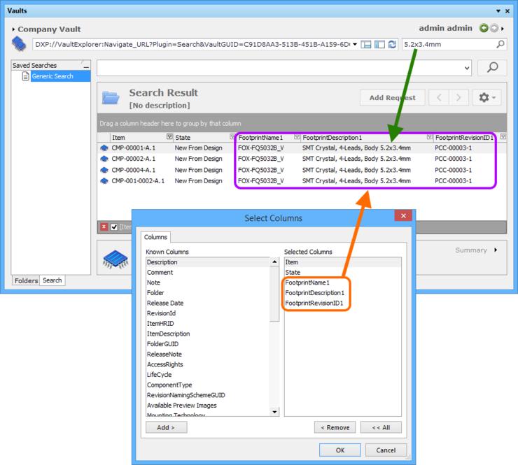 An example vault search, using footprint description data.