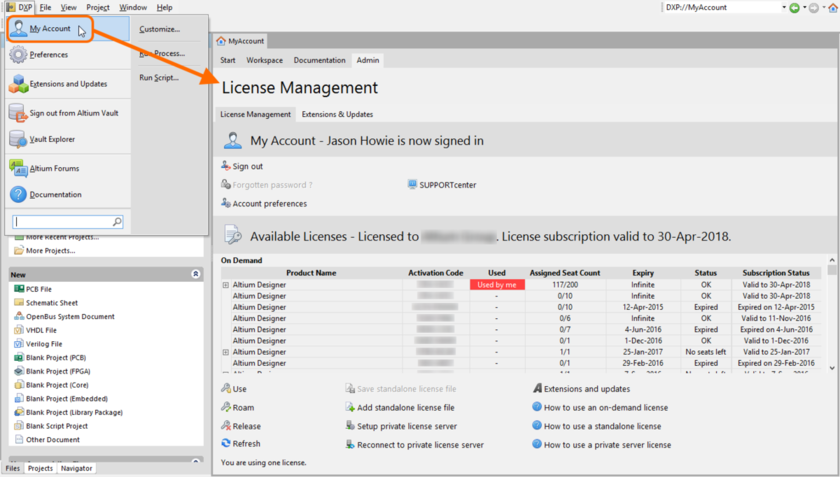 Accessing the License Management view.