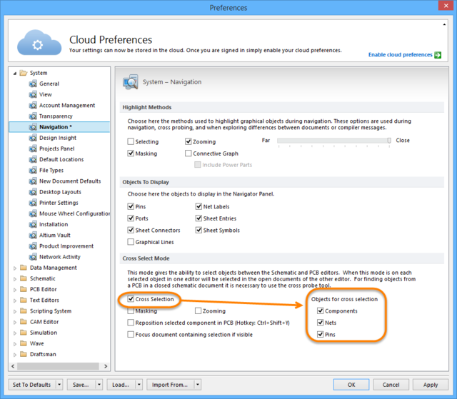 Cross Selectionoption enabled on the System - Navigation page of the Preferences dialog.